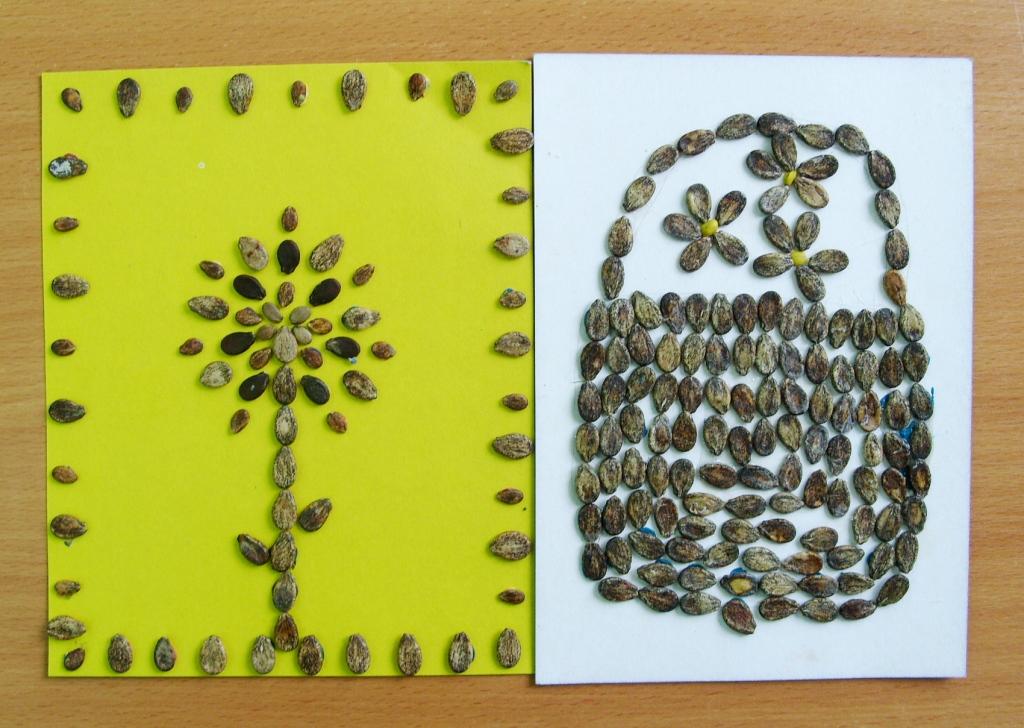 Поделки из семян и пластилина своими руками 76
