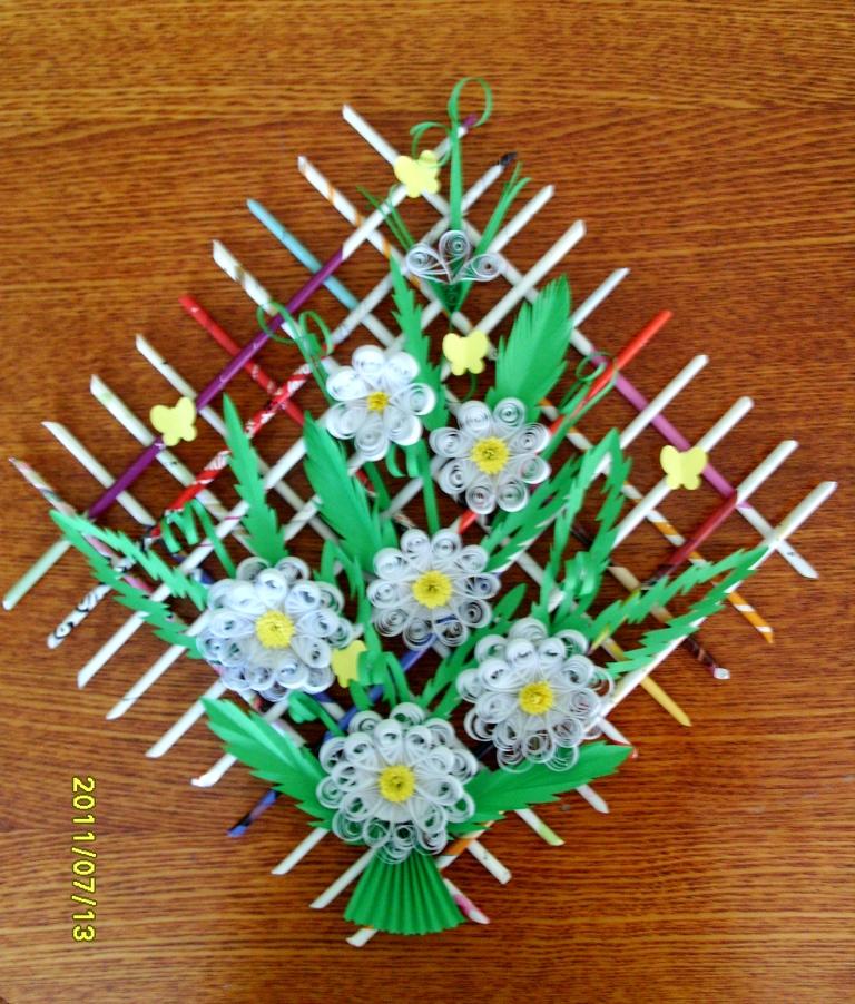 Цветы из трубочек бумаги своими руками 100