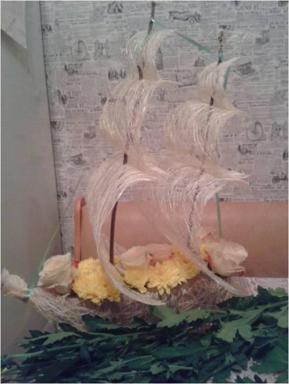 Поделки из шишек кораблик